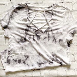 American Eagle White & Grey Water Color Top